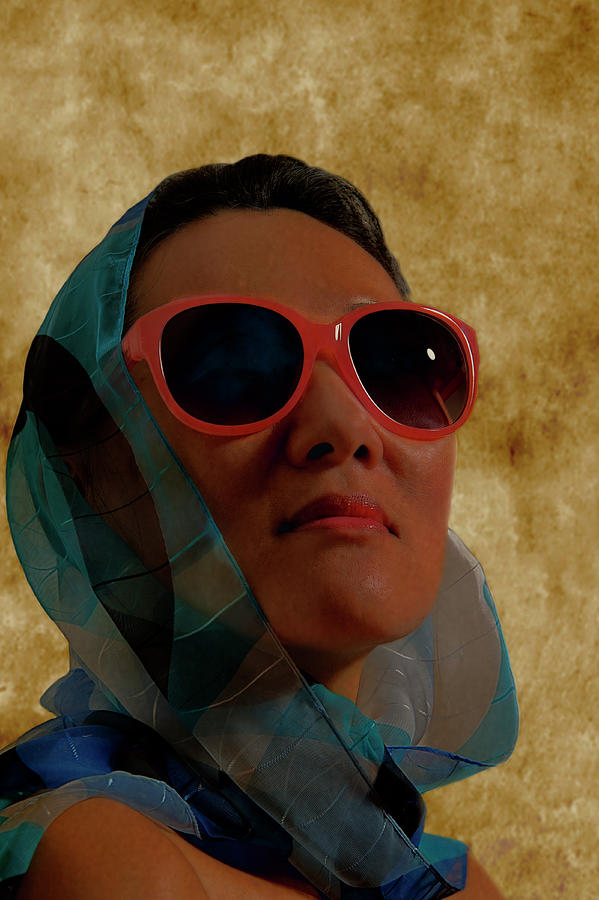 Woman Photograph - Woman In Scarf And Sunglasses by Thomas Morris