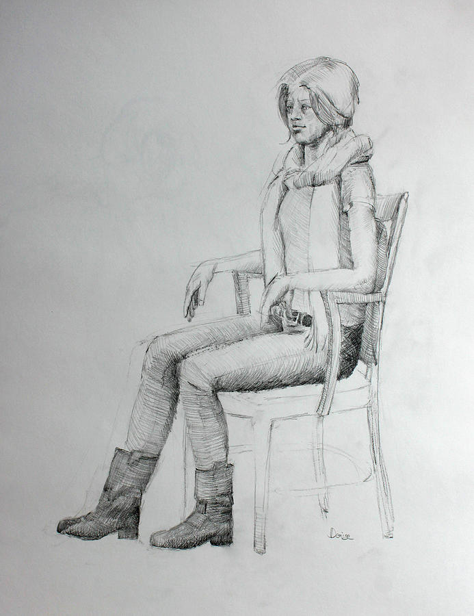 Pencil Drawing Drawing - Woman In Scarf by Mark Johnson