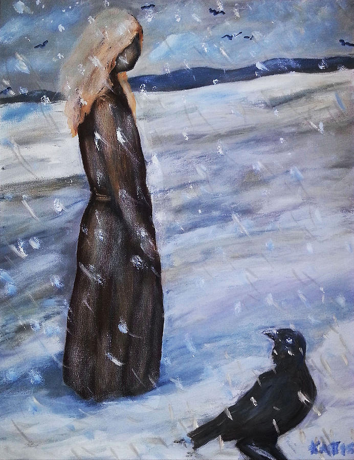 Woman in Snow with Crow by Katt Yanda