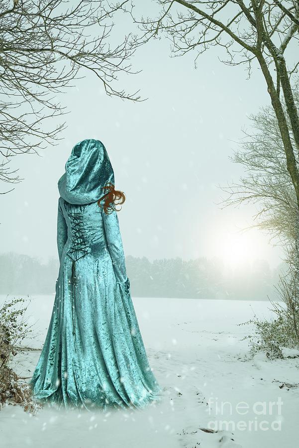 Woman Photograph - Woman In Snowy Landscape by Amanda Elwell