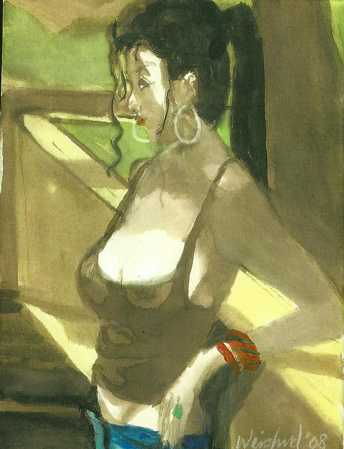 Women Painting - Woman in T-Shirt by Harry  Weisburd