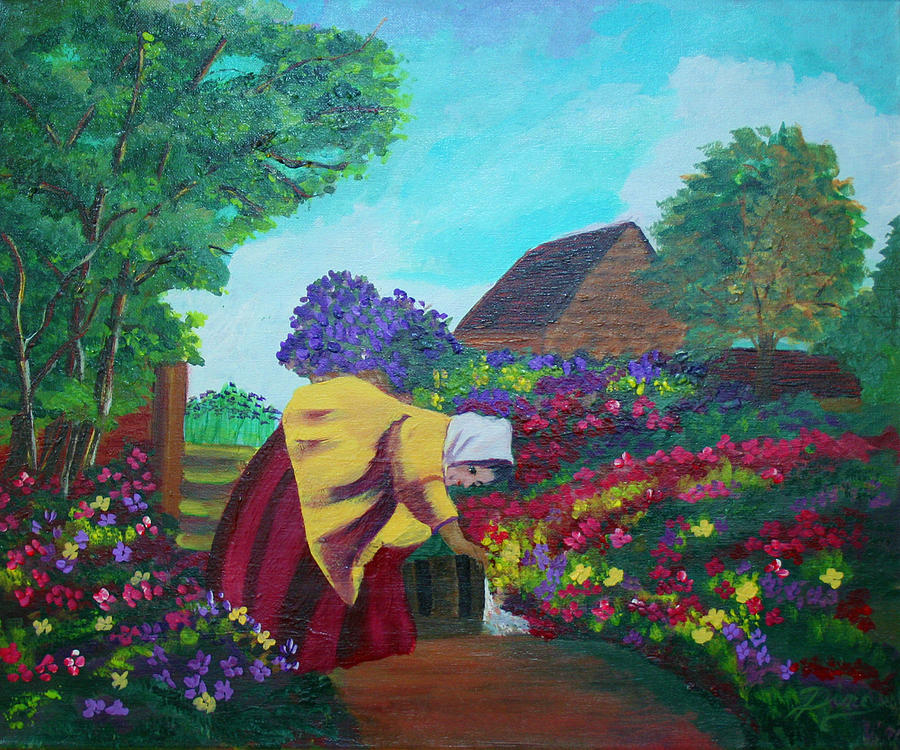 Painting Painting - Woman In The Garden by Dina Jacobs