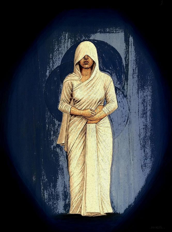 Arts Painting - Woman In White - Widow by Mukul Maiti