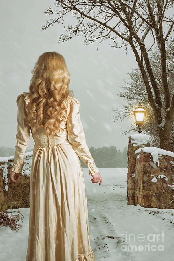 Woman Photograph - Woman In Winter Scene by Amanda Elwell