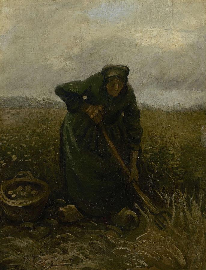 Beautiful Painting - Woman Lifting Potatoes Nuenen, July - August 1885 Vincent Van Gogh 1853 - 1890 by Artistic Panda