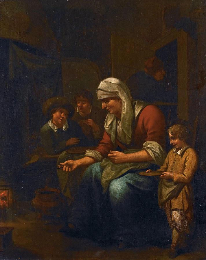 Woman Making Pancakes Painting By Bernardus Van Schijndel