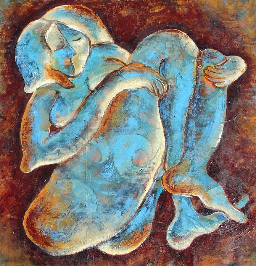 Woman Painting - Woman Meditating by Sara Zimmerman