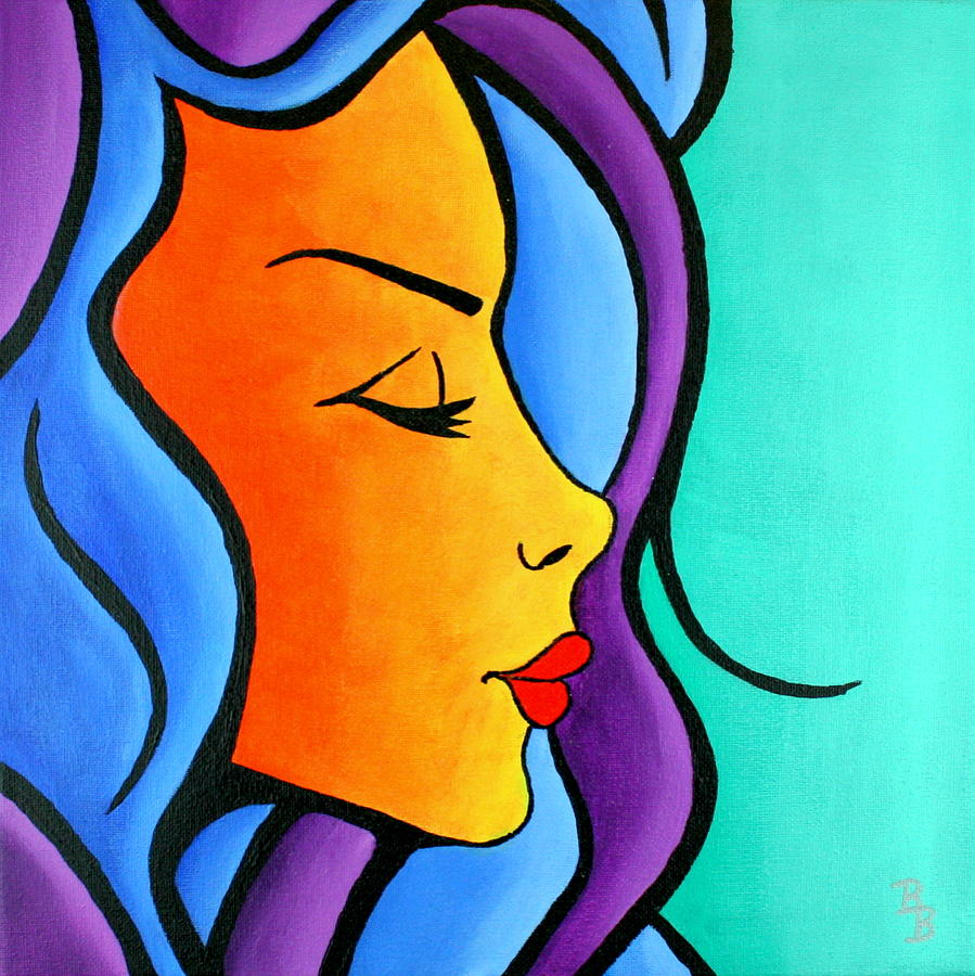 Woman Painting - Woman Of Color, Eyes Closed by Bob Baker
