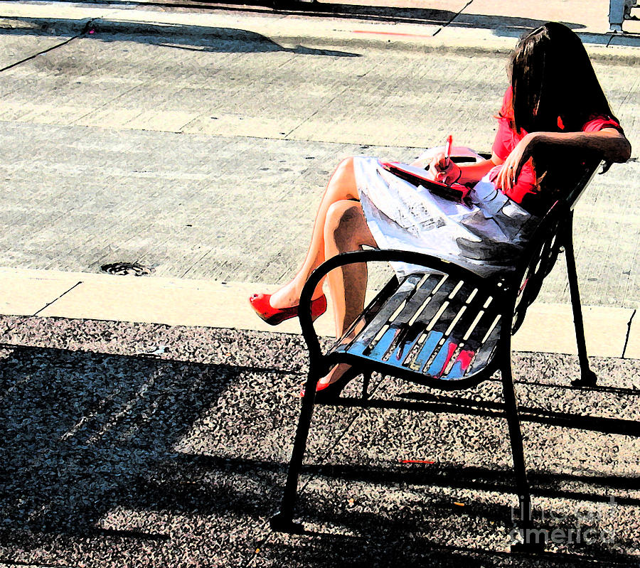 Red Photograph - Woman On A Bench by Gary Everson