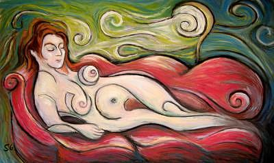 Woman On A Couch Painting by Steve Gribben