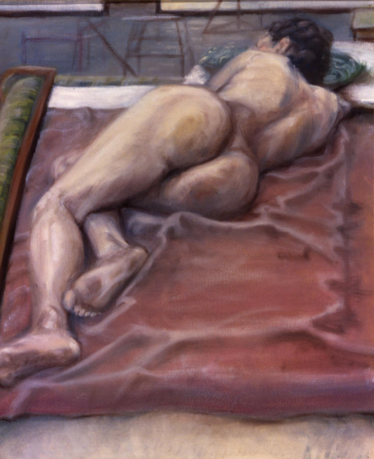 Woman Painting - Woman On Blanket by John Clum