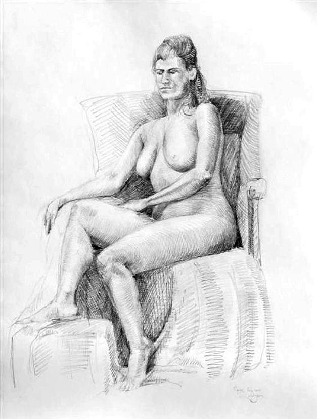 Pencil Drawing Drawing - Woman On Chair by Mark Johnson