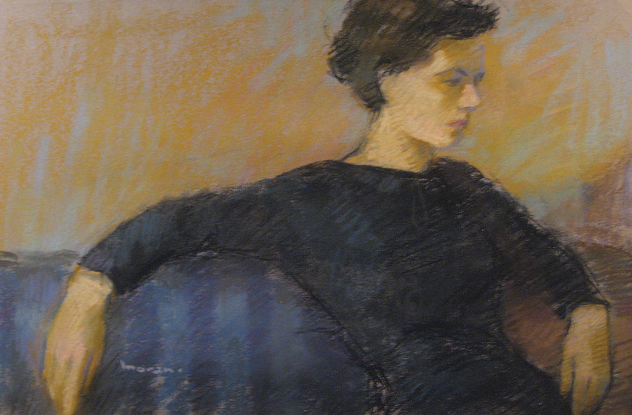 Portrait Pastel - Woman On Couch by Charles Vernon Moran