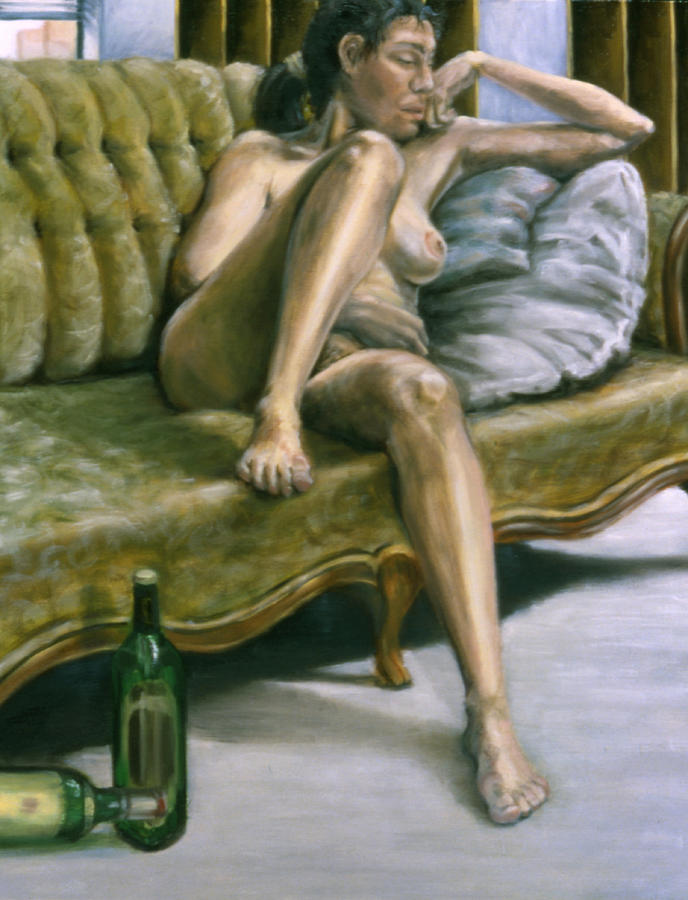 Female Painting - Woman On Green Sofa by John Clum