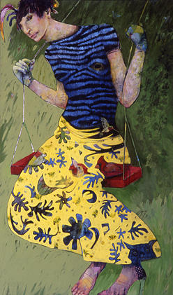 Figurative Painting - Woman On Swing by Deborah Donelson