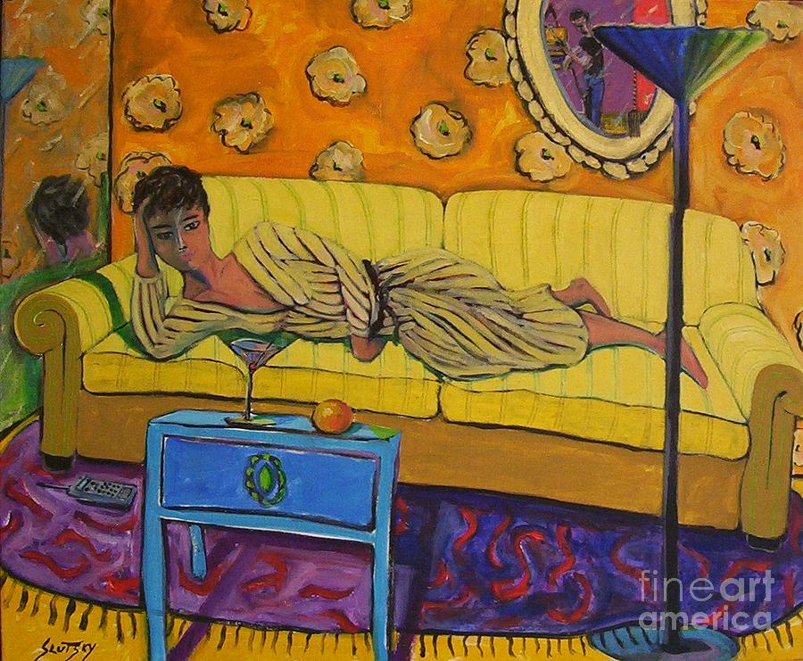 Woman Painting - Woman On Yellow Couch by Erik Slutsky
