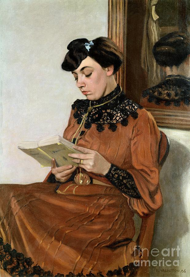 Woman Painting - Woman Reading by Felix Edouard Vallotton