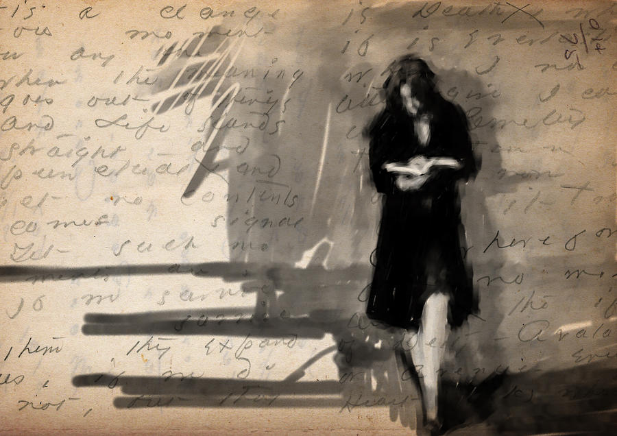 Woman Digital Art - Woman Reading by H James Hoff