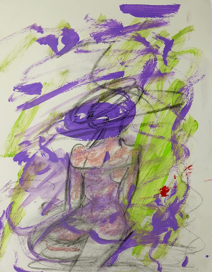 Purple Painting - Woman Reflecting by Barbara Rose Brooker