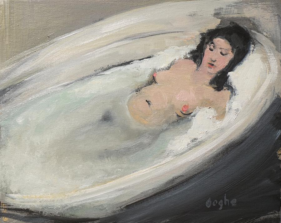 Woman Relaxing In Bath Painting By Angela Ooghe
