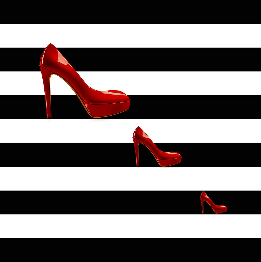 Woman Scent Black and White Stripes Red