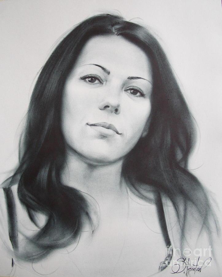Oil Drawing - Woman by Sergey Ignatenko