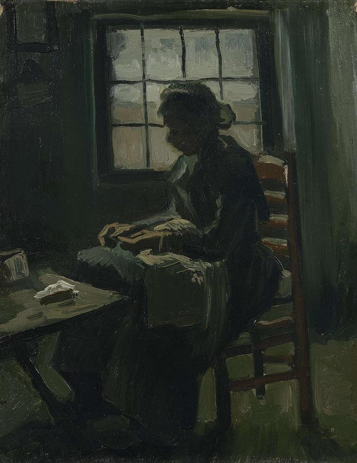 Beautiful Painting - Woman Sewing Nuenen, March - April 1885 Vincent Van Gogh 1853 - 1890 by Artistic Panda