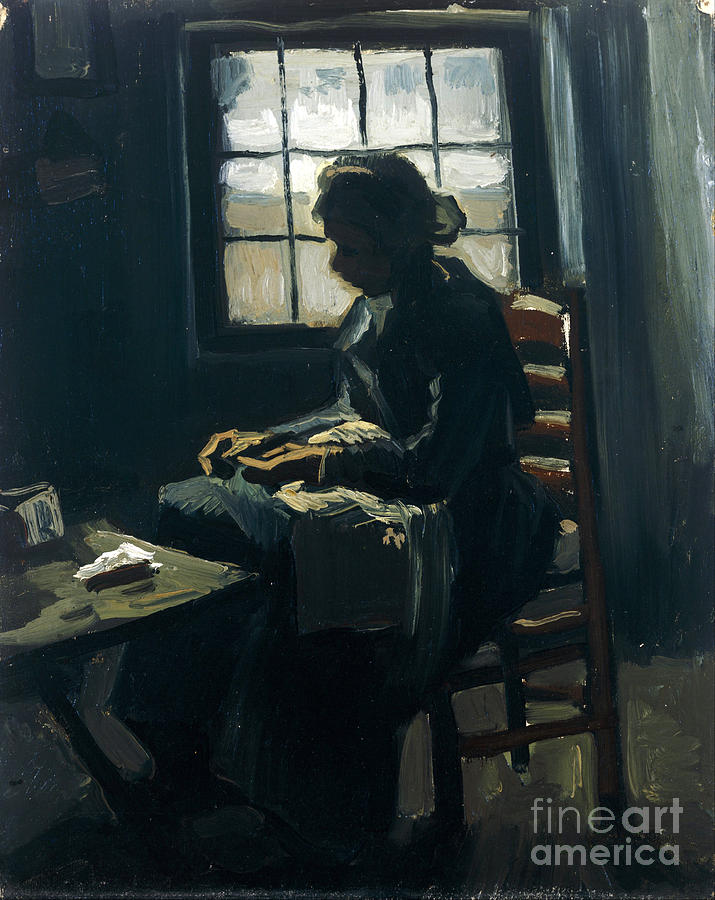 Vicent Painting - Woman Sewing by Van Gogh