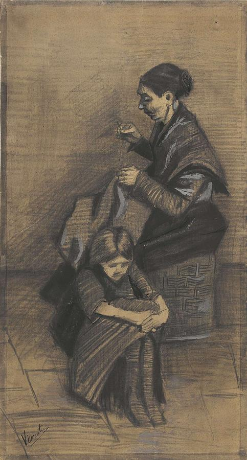 Beautiful Painting - Woman Sewing, With A Girl The Hague, March 1883 Vincent Van Gogh 1853 - 1890 by Artistic Panda