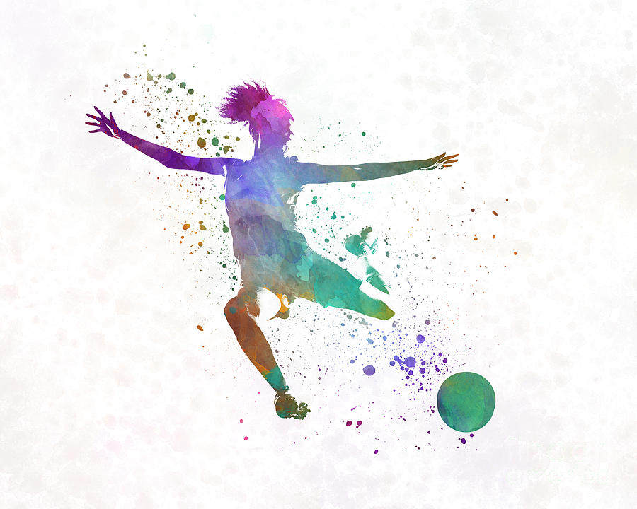 Woman Soccer Player 03 In Watercolor Painting By Pablo Romero