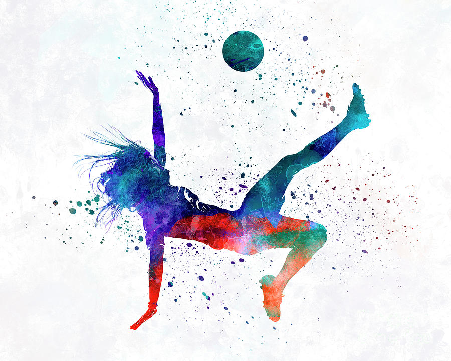 Woman Soccer Player 08 In Watercolor Painting By Pablo Romero