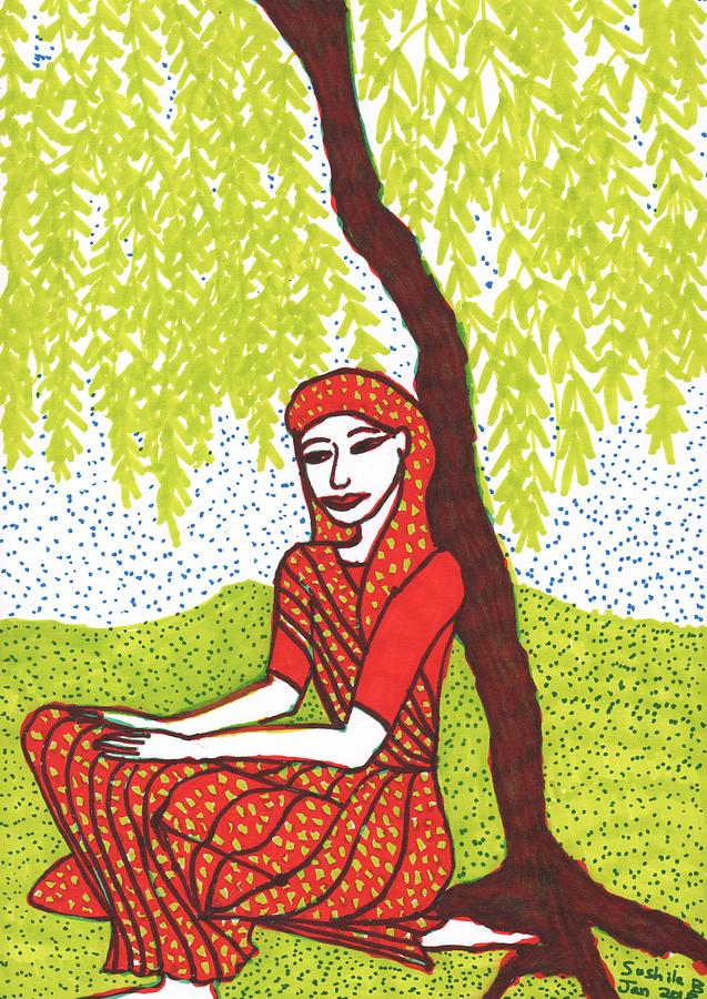 Indian Woman Drawing - Woman under Willow in progress 1 by Sushila Burgess