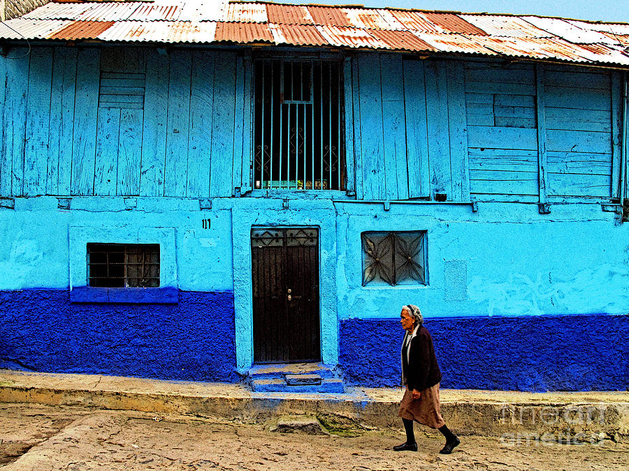 Patzcuaro Photograph - Woman Walking By The Blue House by Mexicolors Art Photography