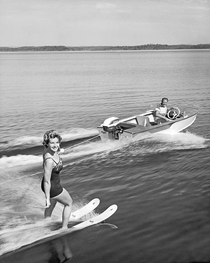 1950s Photograph - Woman Water Skiing by Underwood Archives