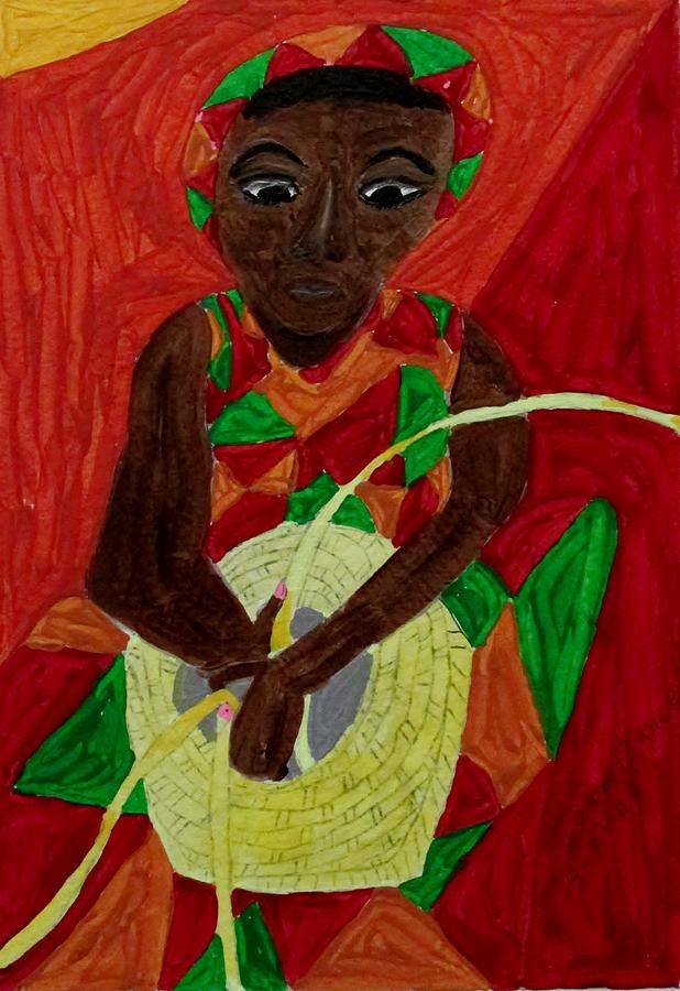 Woman Weaving Basket Painting by Joan Dance
