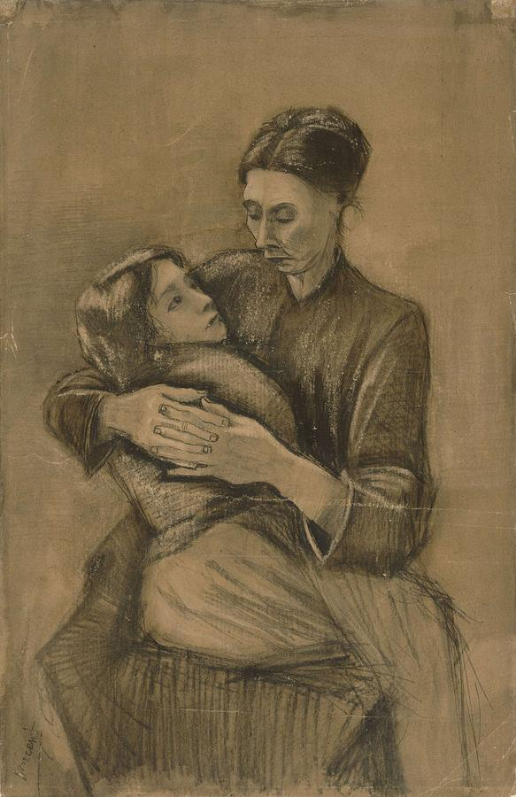 Beautiful Painting - Woman With A Child On Her Lap The Hague, March 1883 Vincent Van Gogh 1853 - 1890 by Artistic Panda