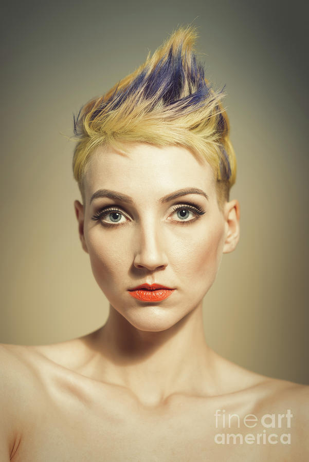 Make Up Photograph - Woman With A Funky Hairstyle by Amanda Elwell