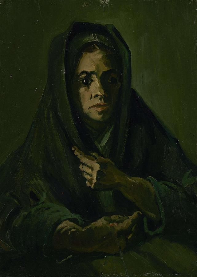 Beautiful Painting - Woman With A Mourning Shawl Nuenen, March - May 1885 Vincent Van Gogh 1853 - 1890 by Artistic Panda