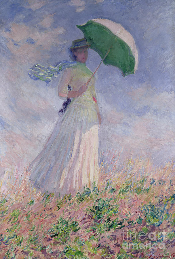 Woman Painting - Woman with a Parasol turned to the Right by Claude Monet