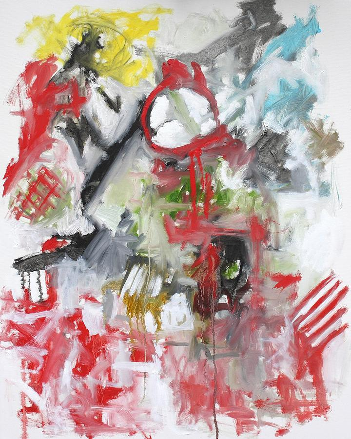 Abstract Painting - Woman with a Red Comb by Michael Henderson