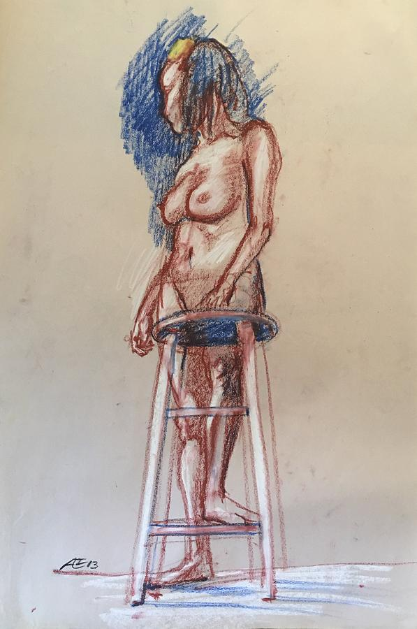 Woman With A Stool Drawing by Alejandro Lopez-Tasso