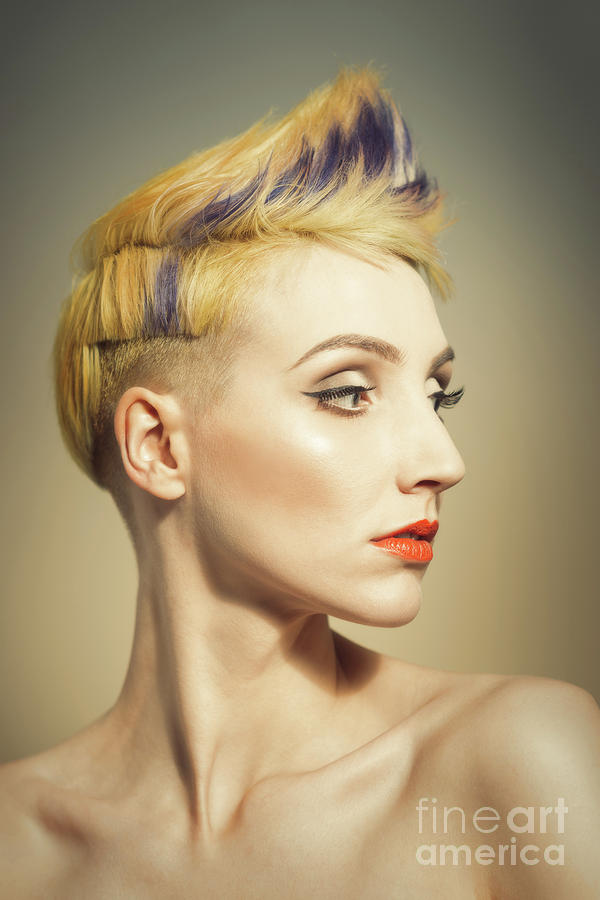 Make Up Photograph - Woman With An Edgy Hairstyle by Amanda Elwell
