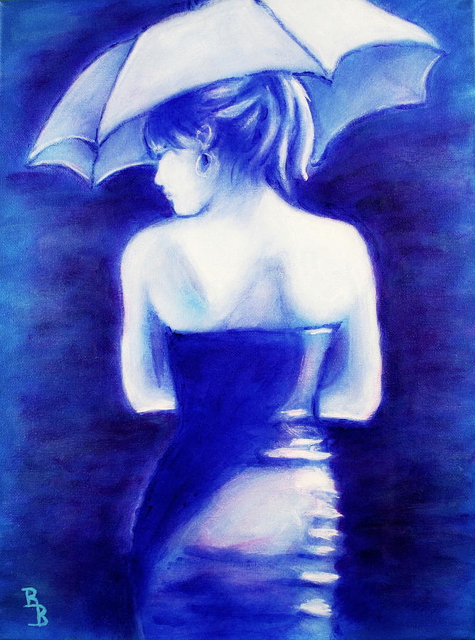 Woman with an Umbrella Blue by Bob Baker