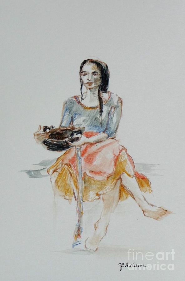Woman with Basket by CHERYL EMERSON ADAMS