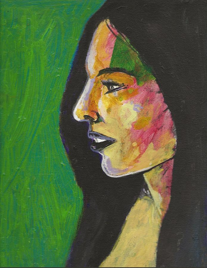 Woman With Black Lipstick Painting