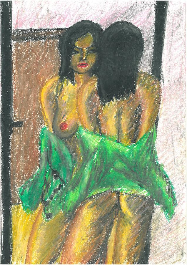 girl looking in mirror painting
