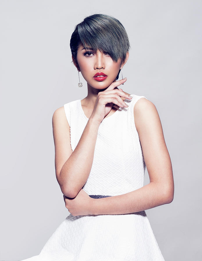 Woman With Bob Haircut And Ash Gray Hair Color Photograph By Von