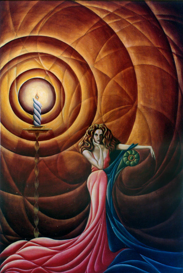 Abstract Painting - Woman with Candle and Drape by John Entrekin