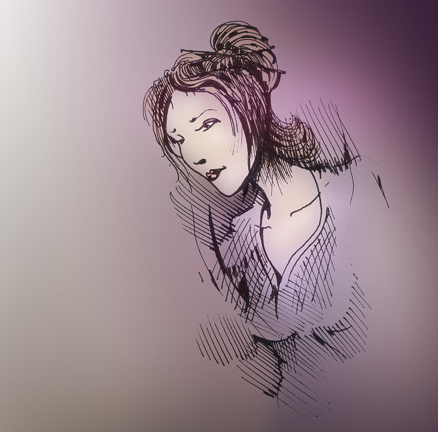 Pen And Ink Drawing - Woman With Chopsticks In Her Hair by Keith A Link