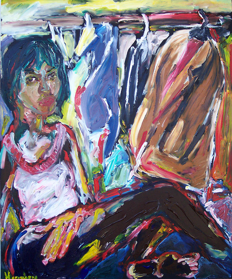 Woman Painting - Woman With Clothes by R Harenberg